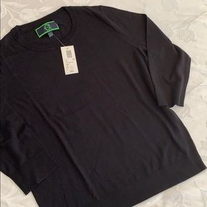 C Wonder 3/4 sleeve black crew neck sweater